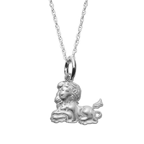 LogoArt Sterling Silver Phi Mu Sorority Lion Pendant Necklace