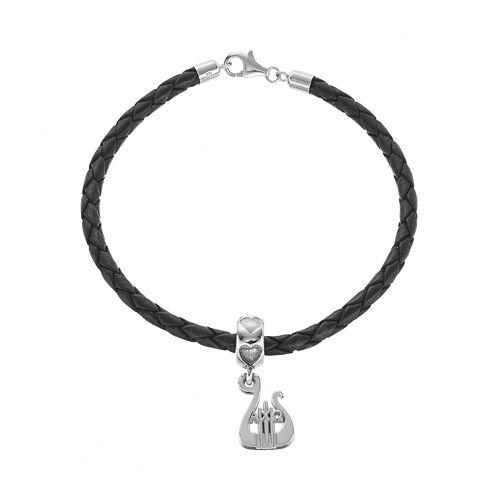 LogoArt Sterling Silver & Leather Alpha Chi Omega Sorority Lyre Bracelet