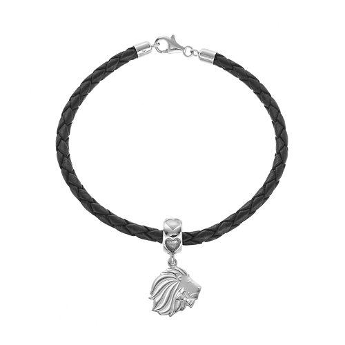 LogoArt Sterling Silver & Leather Alpha Delta Pi Sorority Lion Bracelet