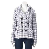 Women's Sebby Hooded Fleece Plaid Double-Breasted Peacoat