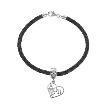 LogoArt Sterling Silver & Leather Alpha Omicron Pi Sorority Heart Bracelet