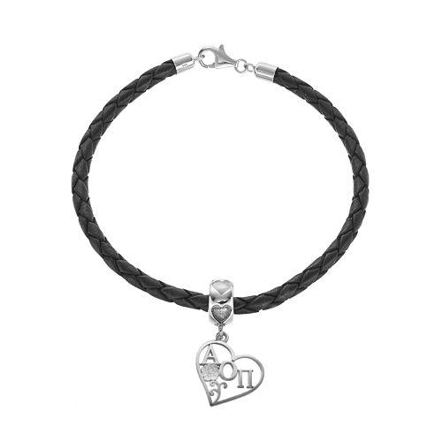 LogoArt Sterling Silver & Leather Alpha Omicron Pi Sorority Heart Bracelet