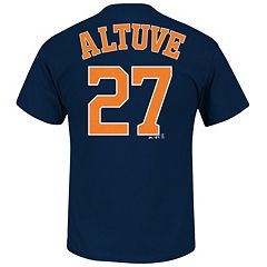 Men's Majestic Houston Astros Jose Altuve Name and Number Tee
