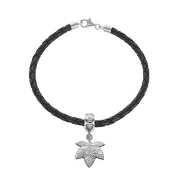 LogoArt Sterling Silver & Leather Alpha Phi Sorority Ivy Leaf Bracelet