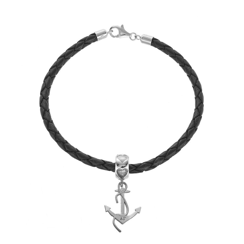 LogoArt Sterling Silver & Leather Delta Gamma Sorority Anchor Bracelet