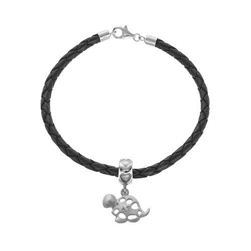 LogoArt Sterling Silver & Leather Delta Zeta Sorority Turtle Bracelet