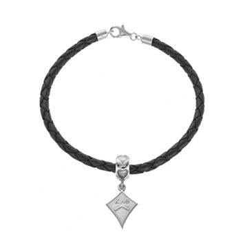 LogoArt Sterling Silver & Leather Kappa Alpha Theta Sorority Kite Bracelet