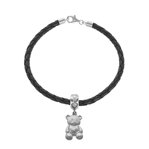 LogoArt Sterling Silver & Leather Kappa Delta Sorority Teddy Bear Bracelet