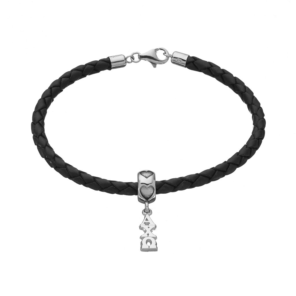 LogoArt Alpha Chi Omega Sterling Silver & Leather Sorority Bracelet