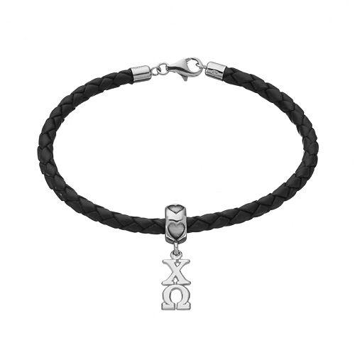 LogoArt Chi Omega Sterling Silver & Leather Sorority Bracelet