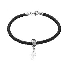 LogoArt Delta Gamma Sterling Silver & Leather Sorority Bracelet