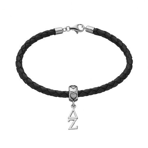 LogoArt Delta Zeta Sterling Silver & Leather Sorority Bracelet