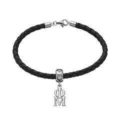 LogoArt Phi Mu Sterling Silver & Leather Sorority Bracelet