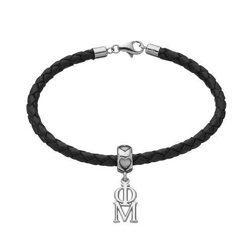 LogoArt Phi Mu Sterling Silver & Leather Sorority Bracelet
