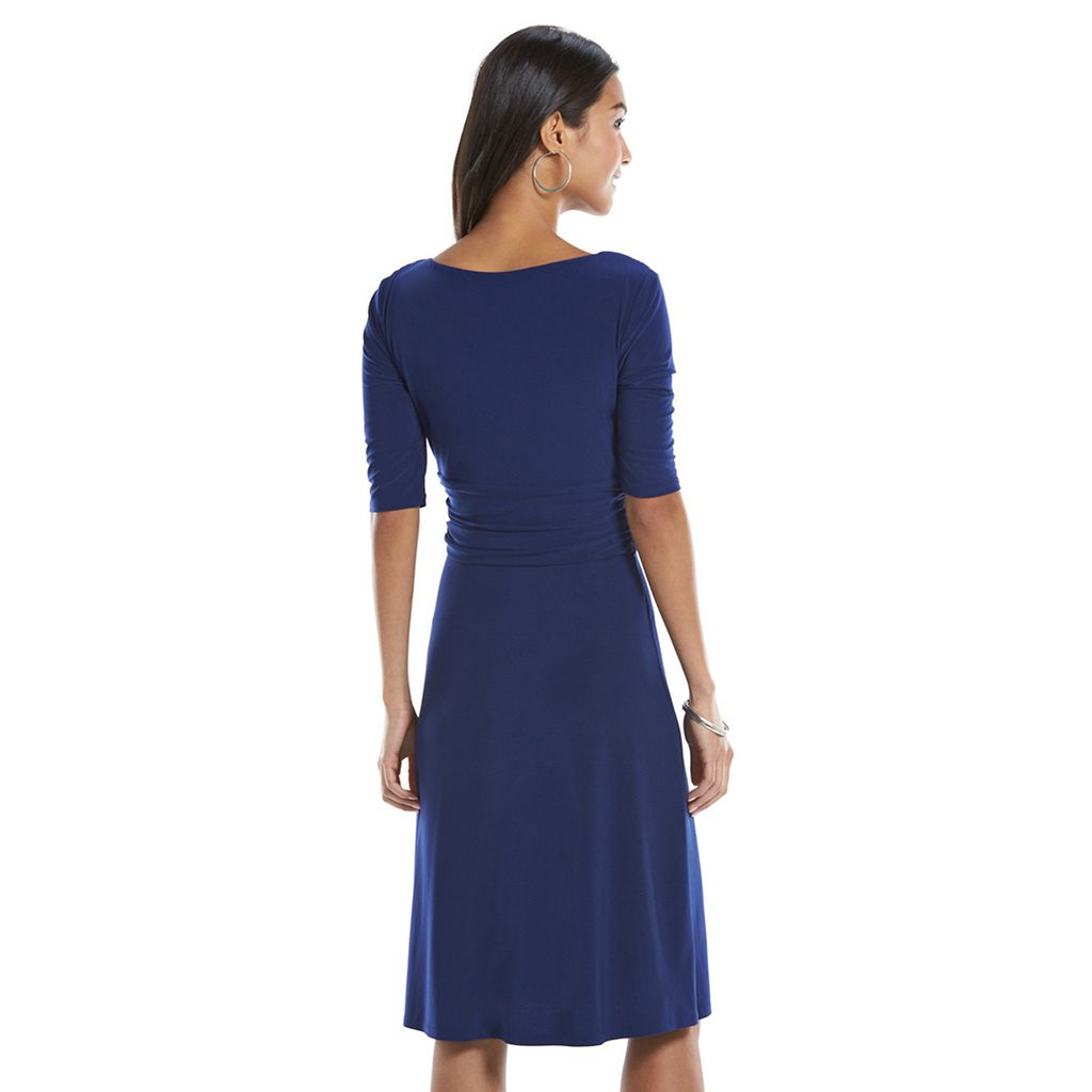 Chaps Solid Knot-Front Empire Dress - Women's