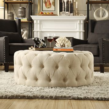 HomeVance Vanderbilt Round Tufted Cocktail Ottoman