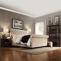 HomeVance Vanderbilt Queen Tufted Sleigh Bed Frame