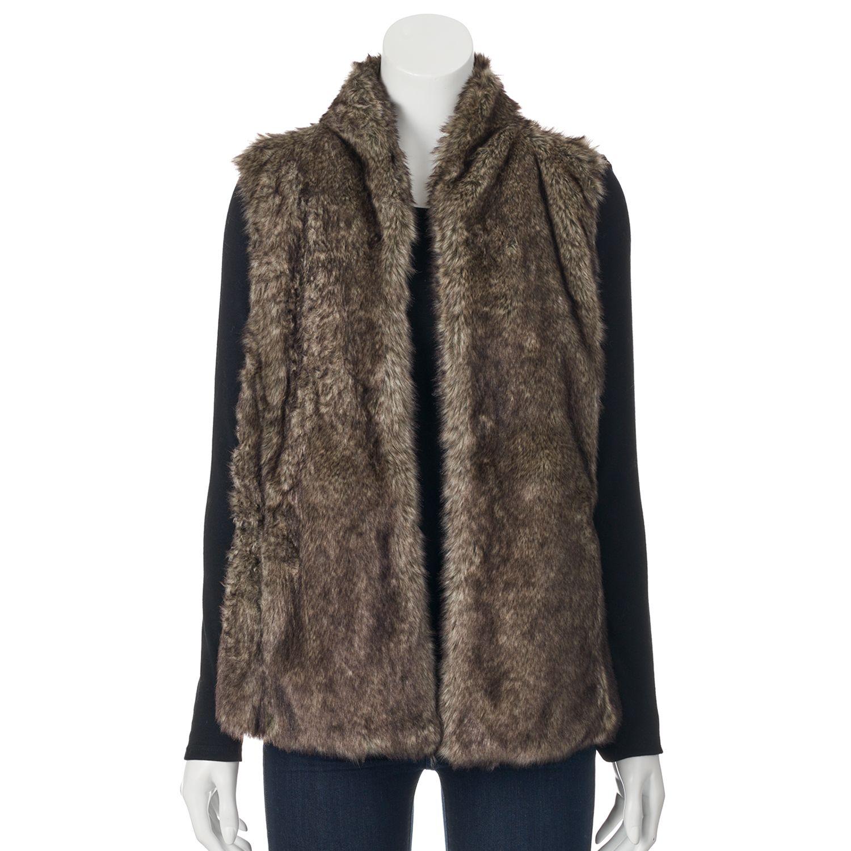 Womens Sebby Faux-Fur Sweater-Back Vest