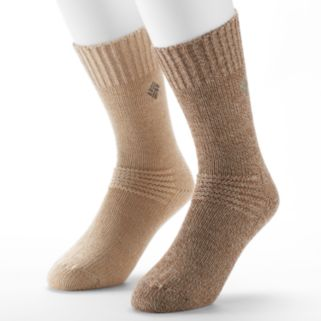 Men's Columbia 2-pack Fleece-Lined Wool-Blend Crew Socks