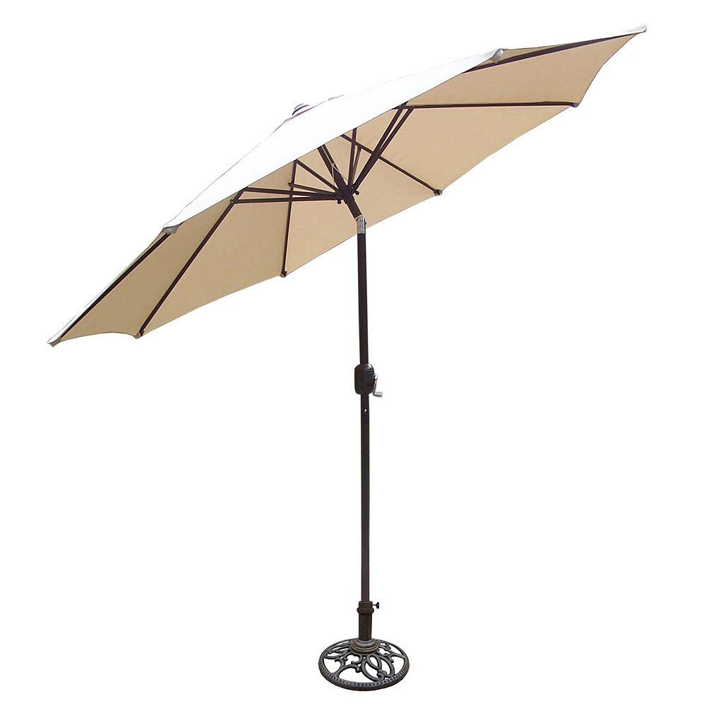 9-Foot Outdoor Tilting Crank Umbrella & Stand