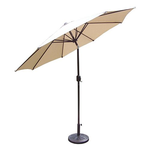 9-Foot Reinforced Outdoor Tilting Crank Umbrella & Stand
