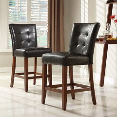 HomeVance 2 pc Parkway Button Tufted Counter Chair Set