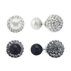 PearLustre by Imperial Sterling Silver Onyx & Freshwater Cultured Pearl Front-Back Stud Earring Set