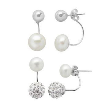 PearLustre by Imperial Sterling Silver Crystal & Freshwater Cultured Front-Back Drop Earring Set