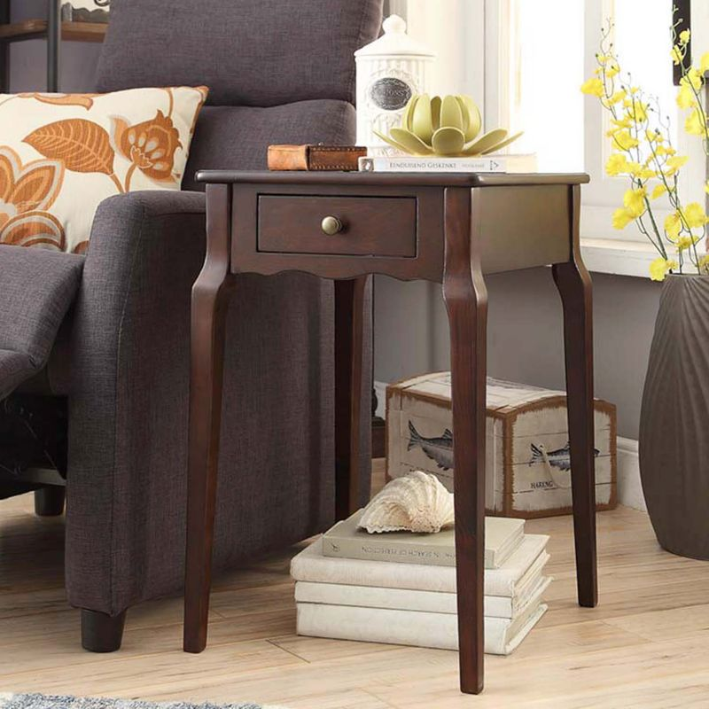 HomeVance Isabella 1-Drawer Scalloped End Table, Brown