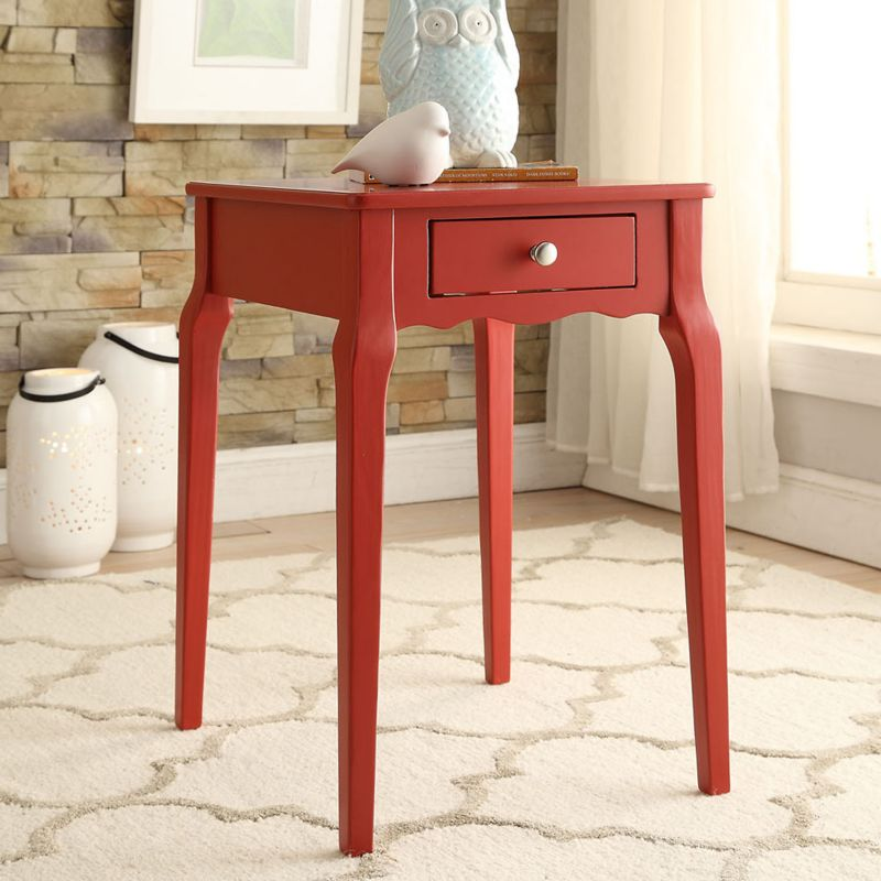 HomeVance Isabella 1-Drawer Scalloped End Table, Red