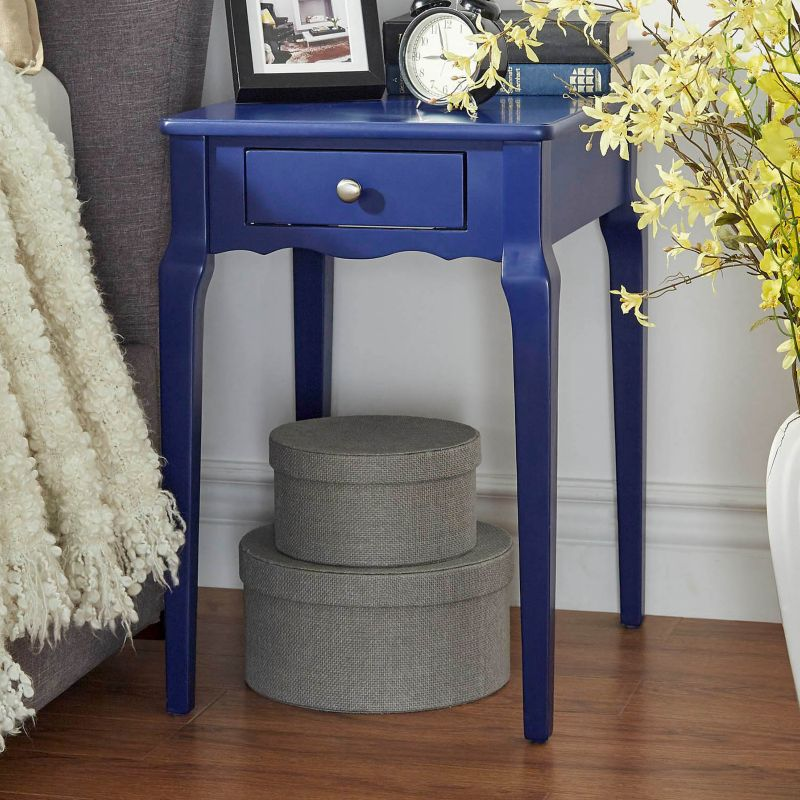 HomeVance Isabella 1-Drawer Scalloped End Table, Blue