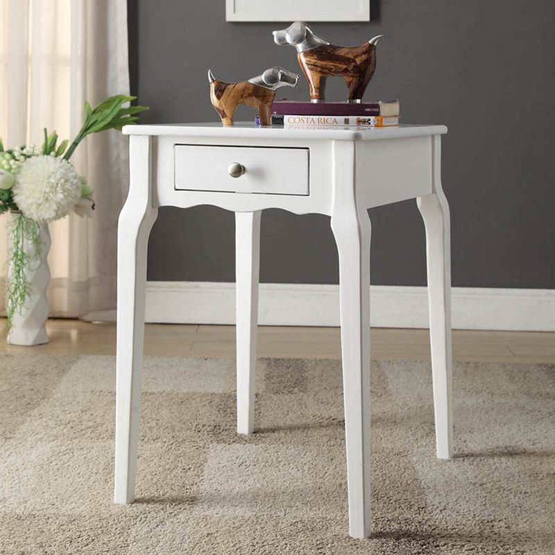 HomeVance Isabella 1-Drawer Scalloped End Table, White