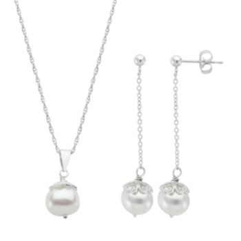 PearLustre by Imperial Sterling Silver Freshwater Cultured Pearl Pendant & Drop Earring Set