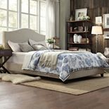 HomeVance Lakeview Camelback Padded Bed Frame
