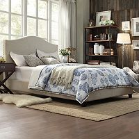HomeVance Lakeview Camelback Padded Bed Frame