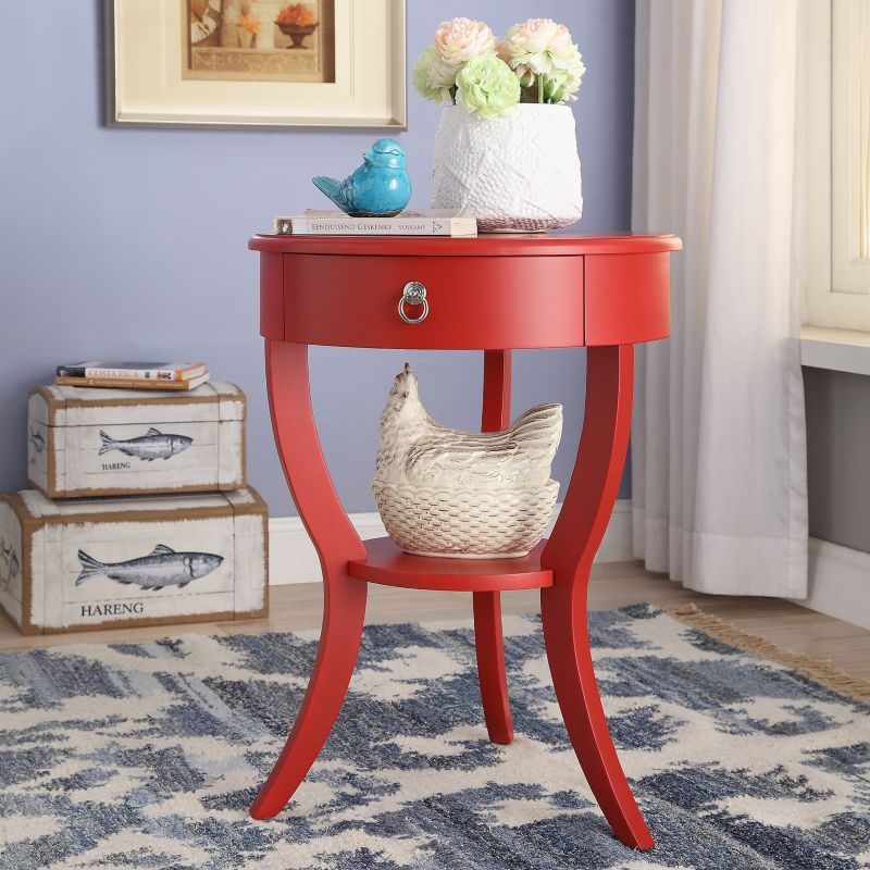 HomeVance Northbrook Round End Table, Red