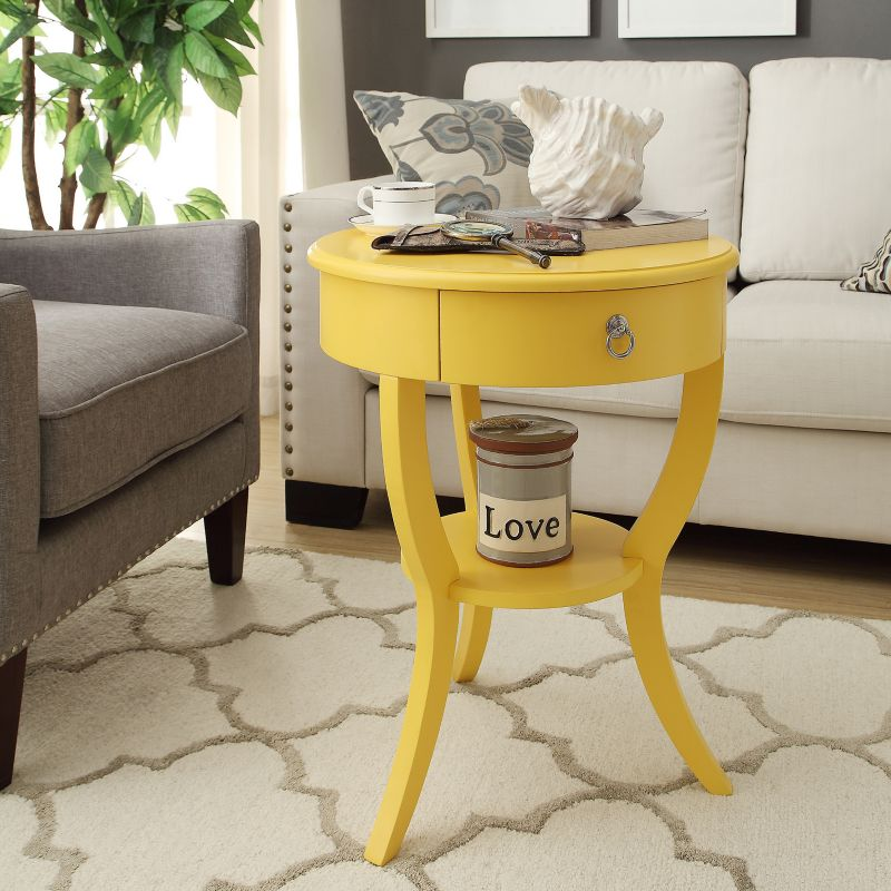 HomeVance Northbrook Round End Table, Yellow