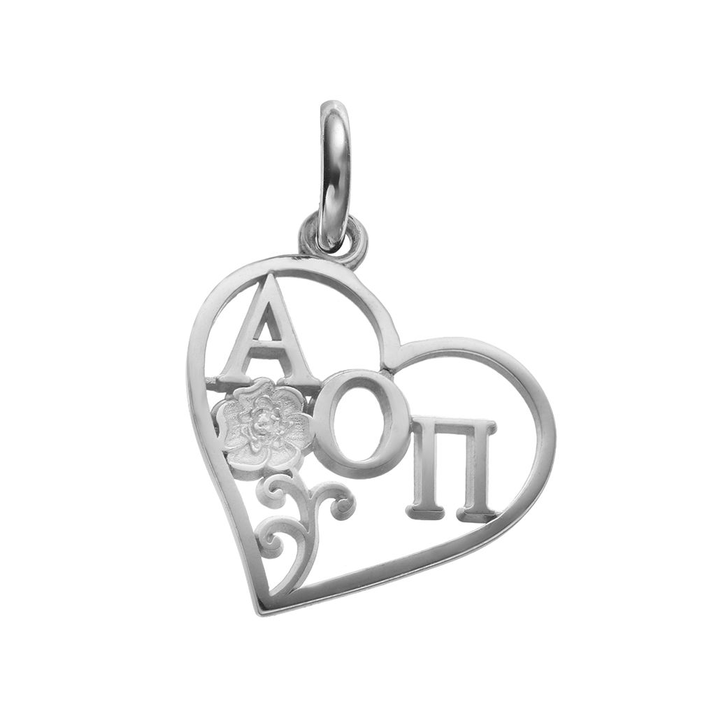 LogoArt Alpha Sterling Silver Omicron Pi Sorority Rose Heart Charm