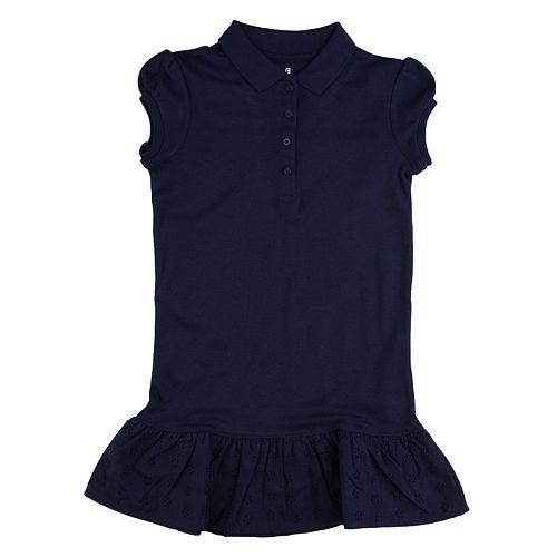 Girls 4-6x Chaps School Uniform Ruffled Polo Shirt Dress