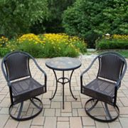 Stone Art Outdoor Table & Wicker Swivel Chair 3 pc Set