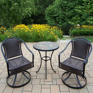 Stone Art Outdoor Table & Wicker Swivel Chair 3-piece Set