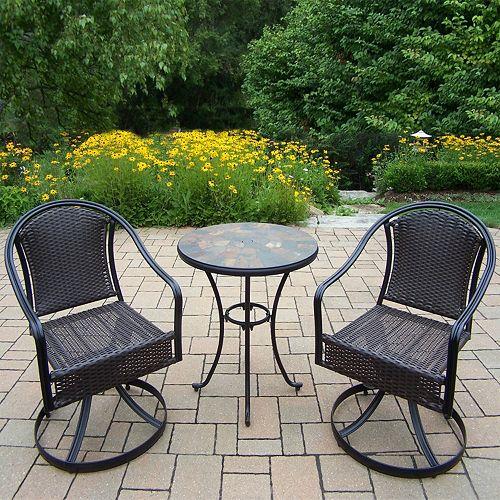 Stone Art Outdoor Table & Wicker Swivel Chair 3-piece Set