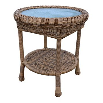 Natural Outdoor Wicker End Table