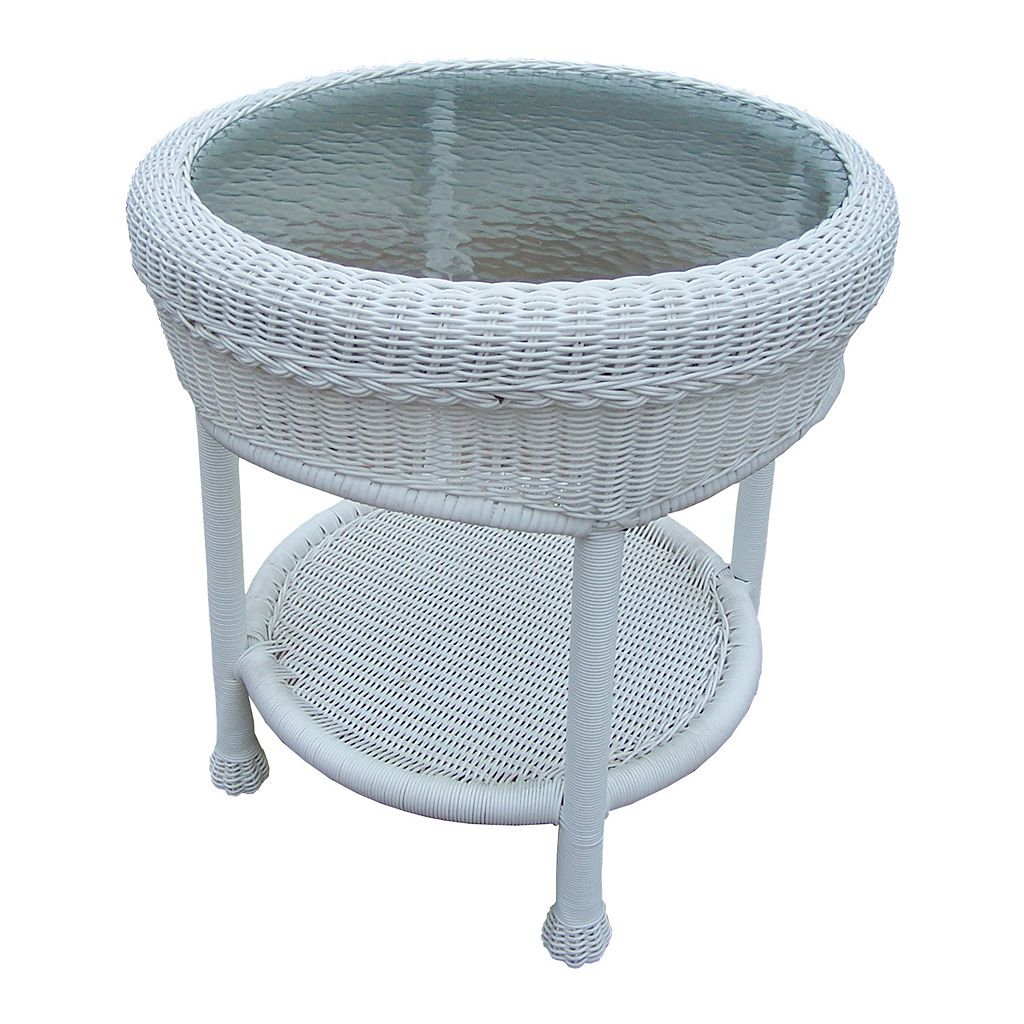 White Outdoor Wicker End Table