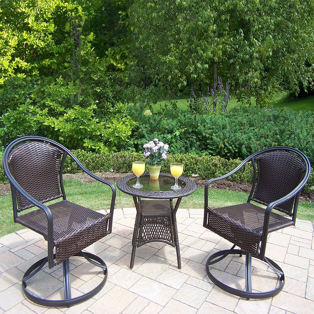 Tuscany Outdoor Wicker Swivel Chair 3-piece Set