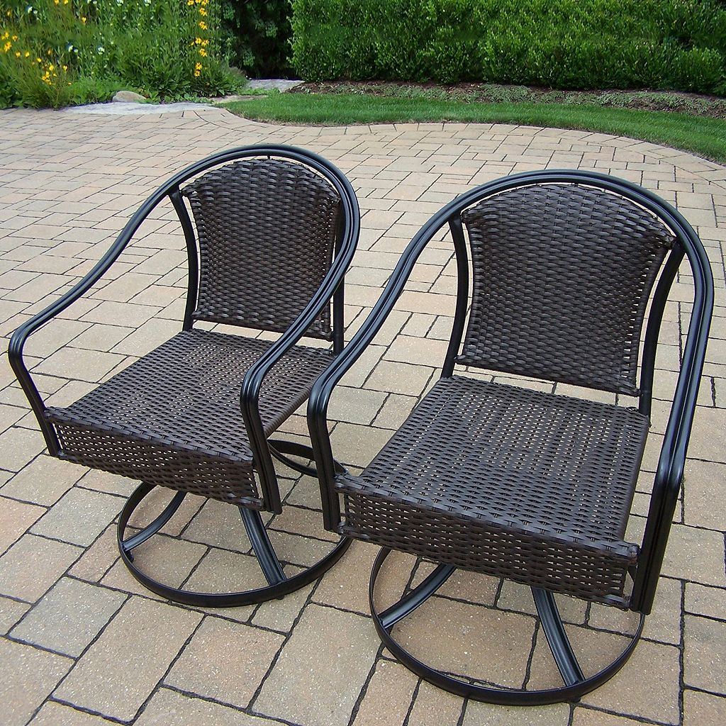 Tuscany Swivel Wicker Patio Chair 2-piece Set