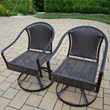 Tuscany Swivel Wicker Patio Chair 2-piece Set