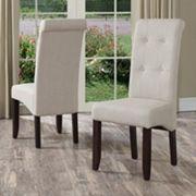Simpli Home Cosmopolitan 2 pc Deluxe Tufted Parson Chair