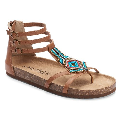 16d5b43fe65 Mudd® Women s Beaded Gladiator Footbed Sandals