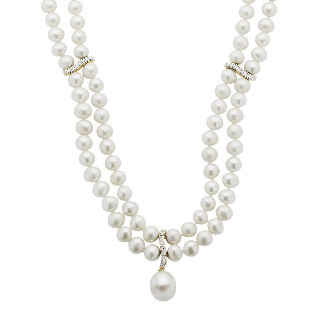 PearLustre by Imperial 14k Gold Over Silver Freshwater Cultured Pearl Necklace